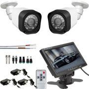 Kit  2 Cameras De Segurança Infravermelho Com Monitor De 7 Polegadas Colorido
