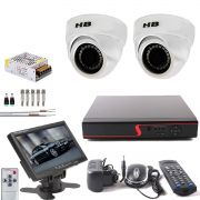 Kit 2 Cameras Dome Full Hd 1080p Com Dvr 8 Ch e Monitor