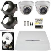 Kit 2 Cameras Infra Hd 720p 2.8mm Dome Metal Chd 1120m Jfl
