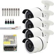 Kit 4 Cameras De Segurança Infra Ahd 960p Com 100mts Cabo E Fonte