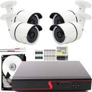Kit 4 Cameras Hd Cftv Infra 30Mts Externa Com Dvr 8 Canais App Cloud