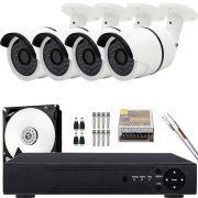 Kit 4 Cameras de Segurança Hd Infravermelho Externa 960p App Cloud Completo