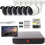 "Kit 6 Cameras HD Com Dvr de 8 Canais e Monitor 7"" S/ HD"