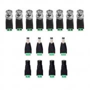 Kit 8 Conector Bnc Borne 4 P4 Macho e 4 P4 femea Para Cftv