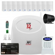 Kit Alarme Active 32 Duo Jfl 10 Sensor Sem Fio Pet 520 Duo