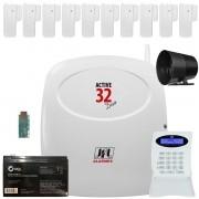 Kit Alarme Active 32 Duo Jfl Com 10 Sensores Sl 220 Duo