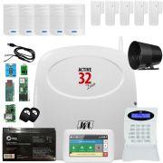 Kit Alarme Active 32 Duo Jfl Com 5 Sensor Pet 520 Duo e 4 Sensor Sl 220 Duo