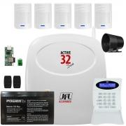 Kit Alarme Active 32 Duo Jfl Sensor Sem Fio Pet 520 Duo
