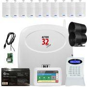 Kit Alarme Active 32 Duo Jfl Sensores Ir 520 Duo e Ts 400