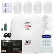 Kit Alarme Monitorado Active 20 Ultra Com Sensores Idx 2001 e Shc Fit Jfl
