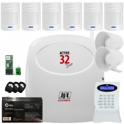 Kit Alarme Monitorado Active 32 Duo Jfl Sensores Sem Fio Ir Pet 520 Duo