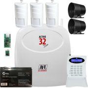 Kit Alarme Monitorado Active 32 Duo + Teclado + Sensores Tec 550 Jfl