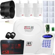 Kit Alarme Residencial Active 20 Gprs Jfl Com Sensores Sem Fio