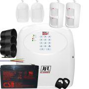 Kit Alarme Residencial Com Discadora Gsm Brisa Cell 804 Completo