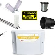 Kit Cerca Eletrica Basica Para 60 Metros 10x20 Central Smd Light