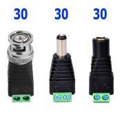Kit Conectores Cftv 30 Bnc Borne + 30 P4 Macho + 30 P4 Femea