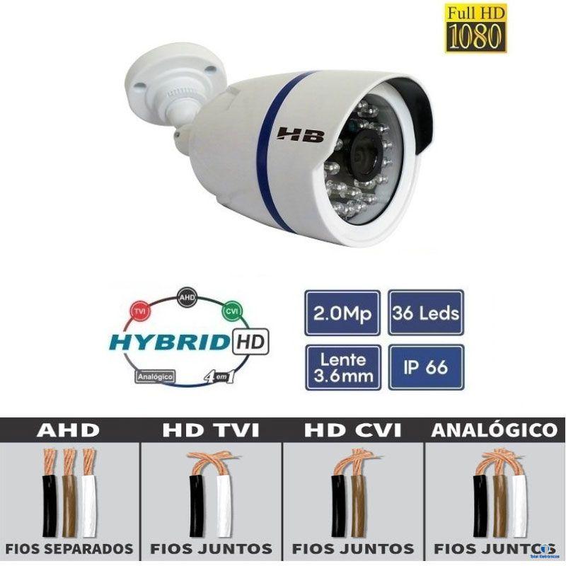 CAMERA NOTURNA HIBRIDA AHD TVI CVI ANALÓGICA FULL HD 1080P 35MTS