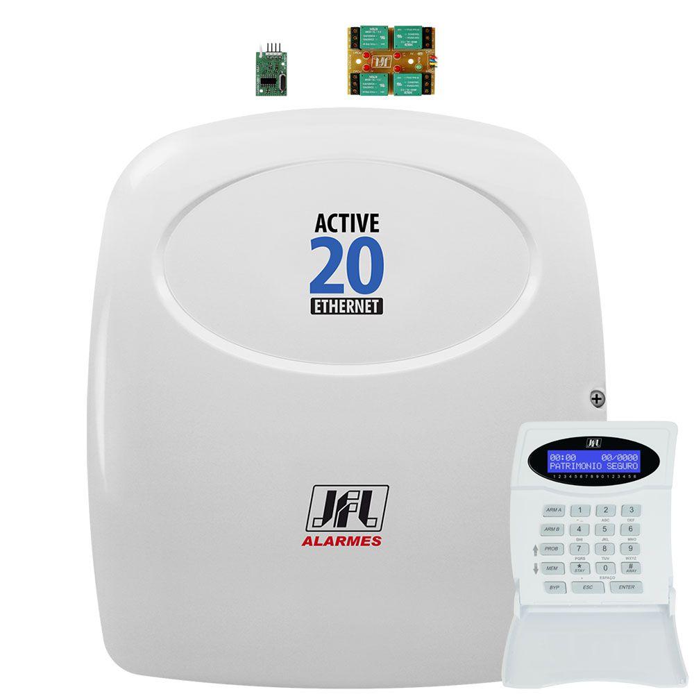 Central de Alarme Active 20 Ethernet Jfl Com Modulo Mrf e Pgm