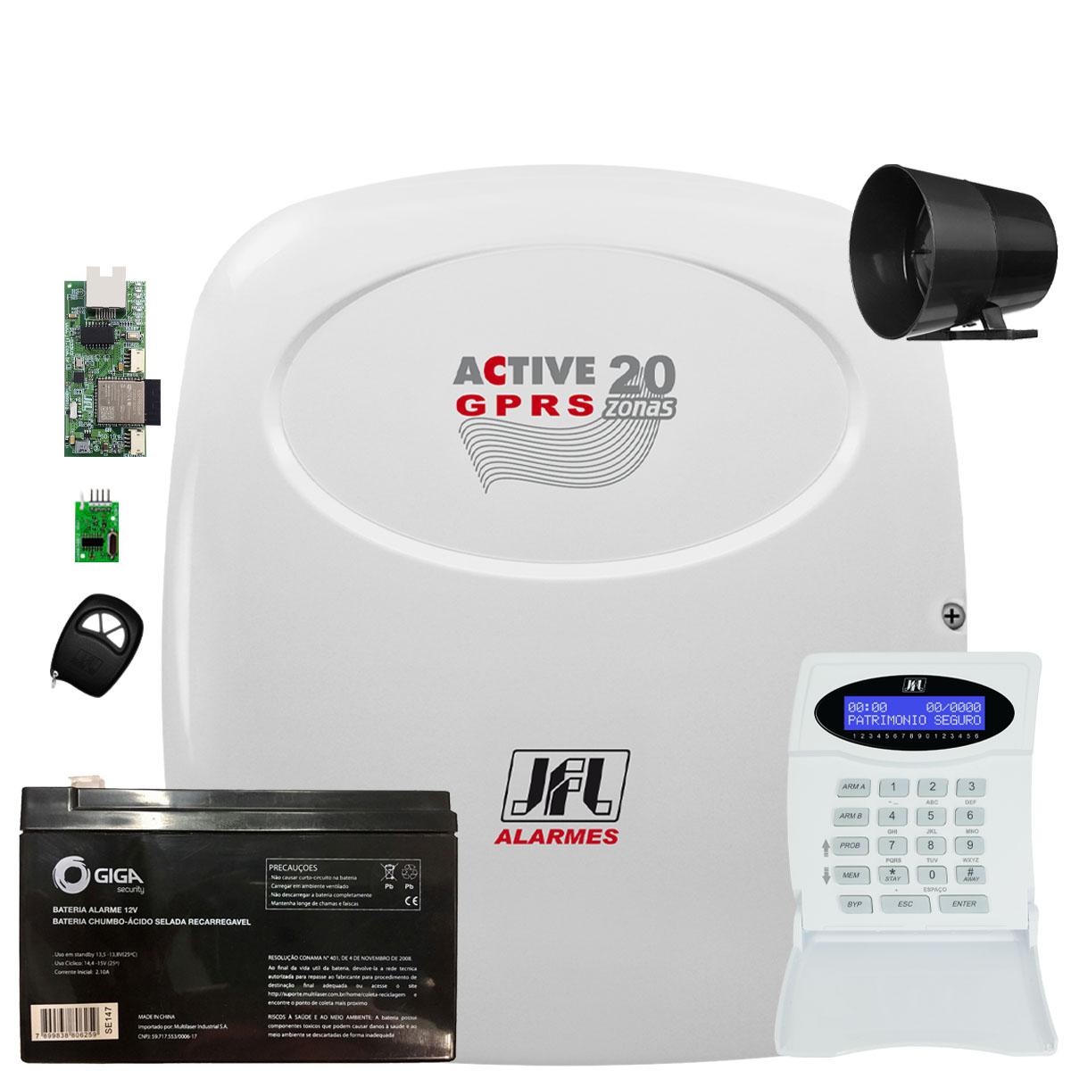 Central de Alarme Active 20 Gprs Com Ethernet e Bateria