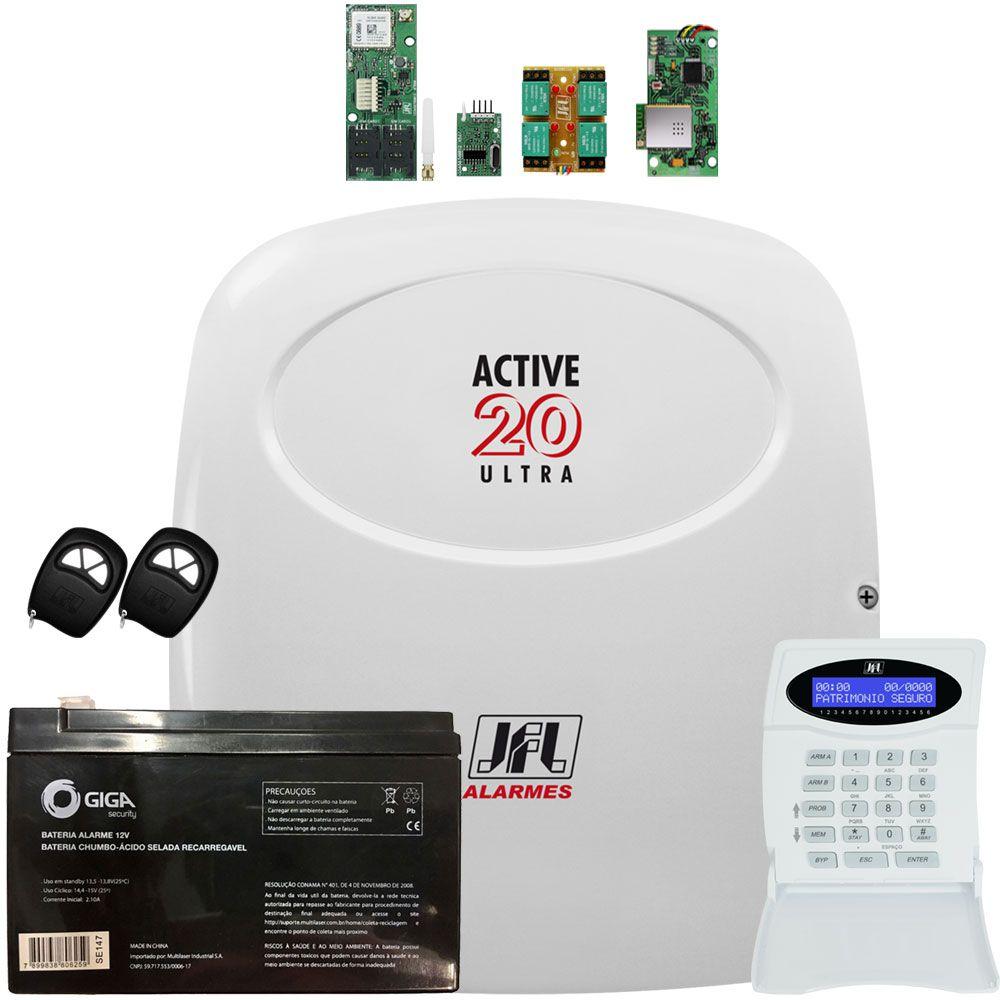 Central De Alarme Active 20 Ultra Jfl Com Módulos Mw 01 Gprs Ethernet E Mrf 01