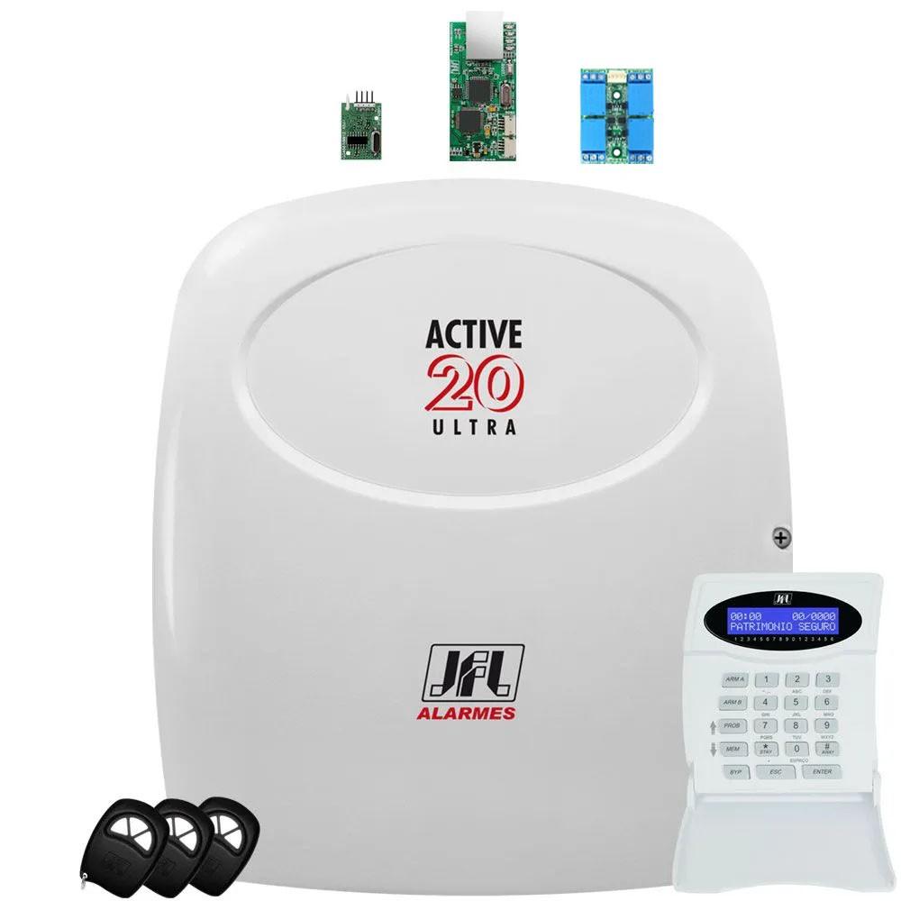 Central De Alarme Active 20 Ultra Jfl + Modulos Ethernet Mrf E Pgm