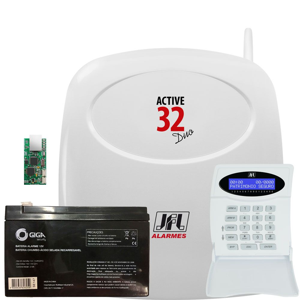 Central De Alarme Active 32 Duo Com Ethernet Teclado E Bateria