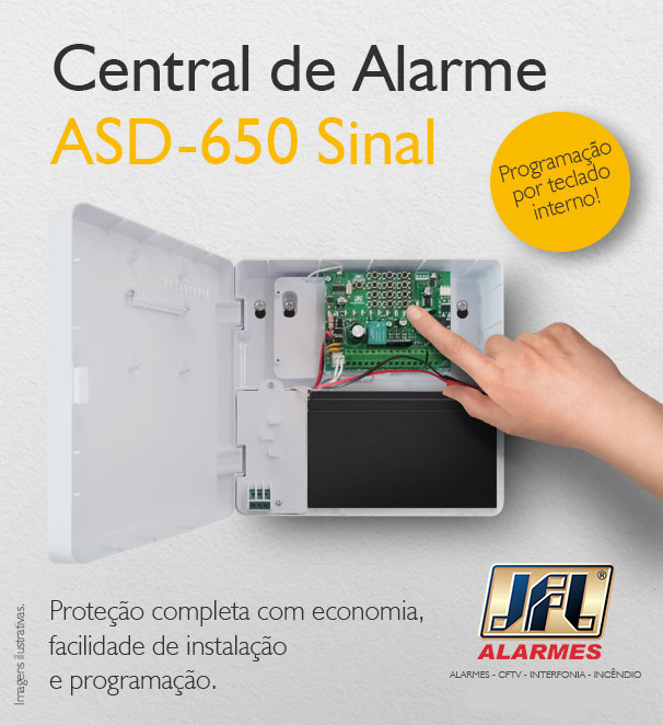 Central De Alarme Residencial 6 Zonas Asd 650 Jfl Com Discadora