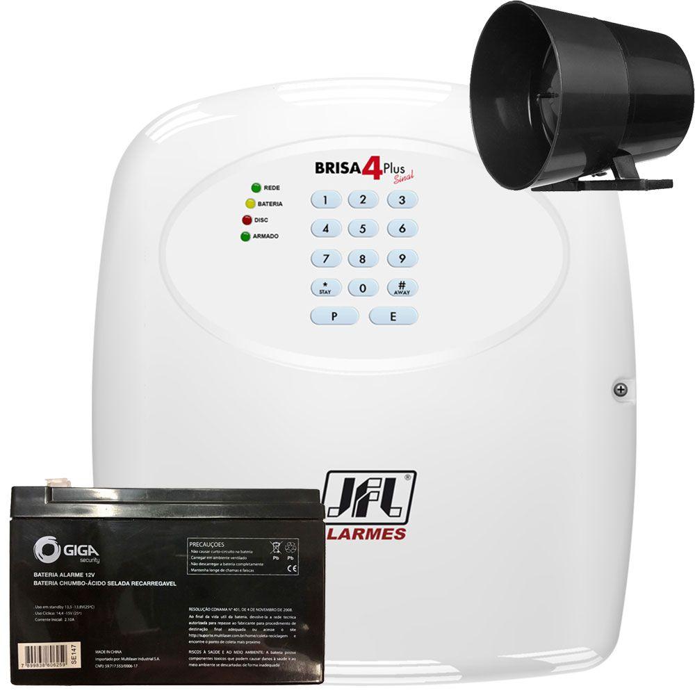 Central De Alarme Jfl Brisa 4 Sinal Plus Com Bateria E Sirene