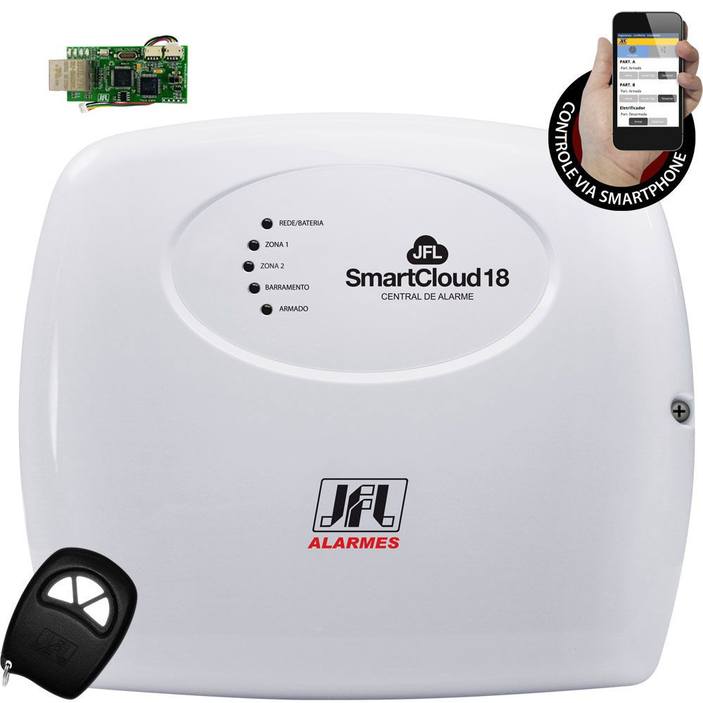 Kit Alarme Residencial Jfl Smart Cloud 18 Com Modulo Ethernet E Bateria