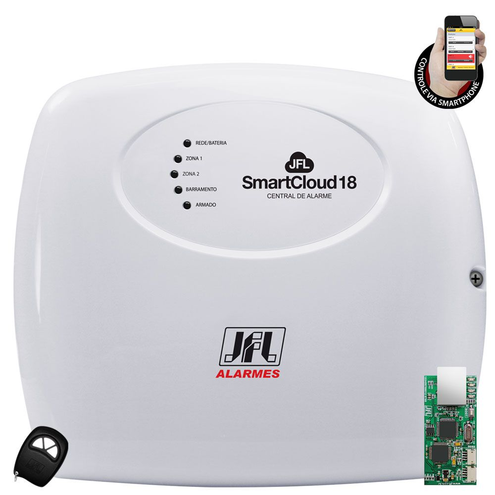 Kit Alarme Jfl Smart Cloud 18 Com Sensores De Barramento Jfl