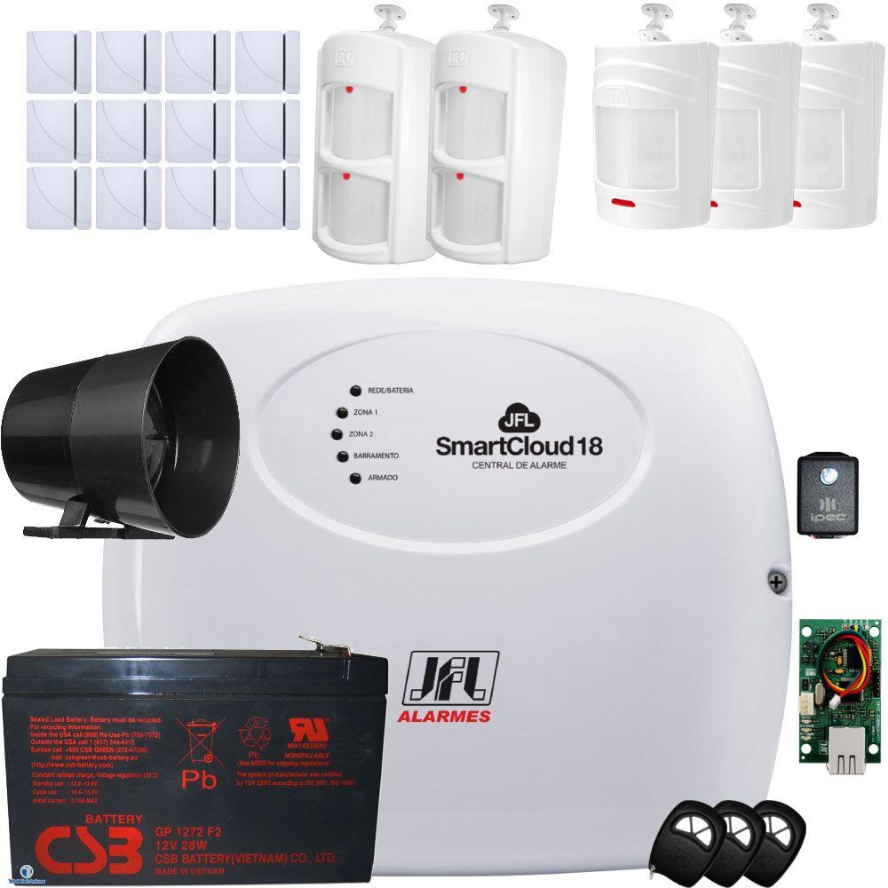Kit Alarme Jfl Smart Cloud 18 Com Sensores ShC Fit – Ird 640 e Irs 430i Jfl