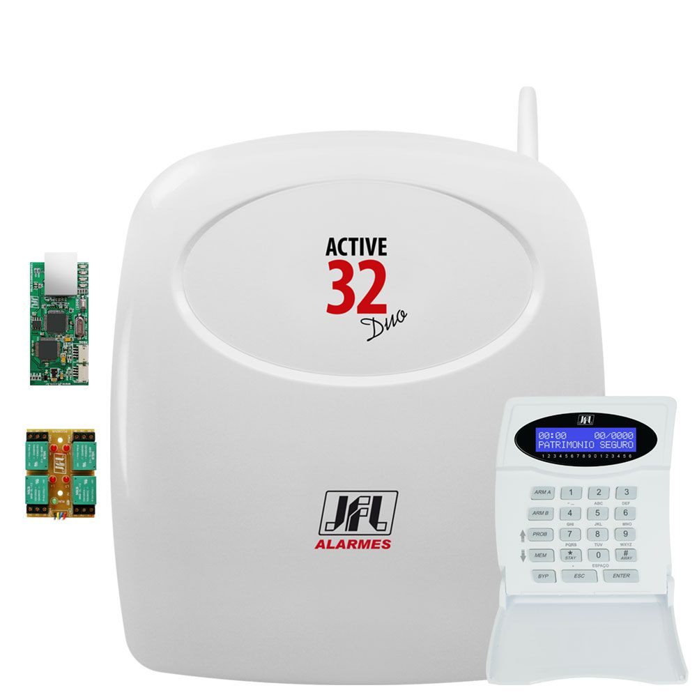 Central De Alarme Monitorada Active 32 Duo Com Modulo Ethernet E Pgm Jfl