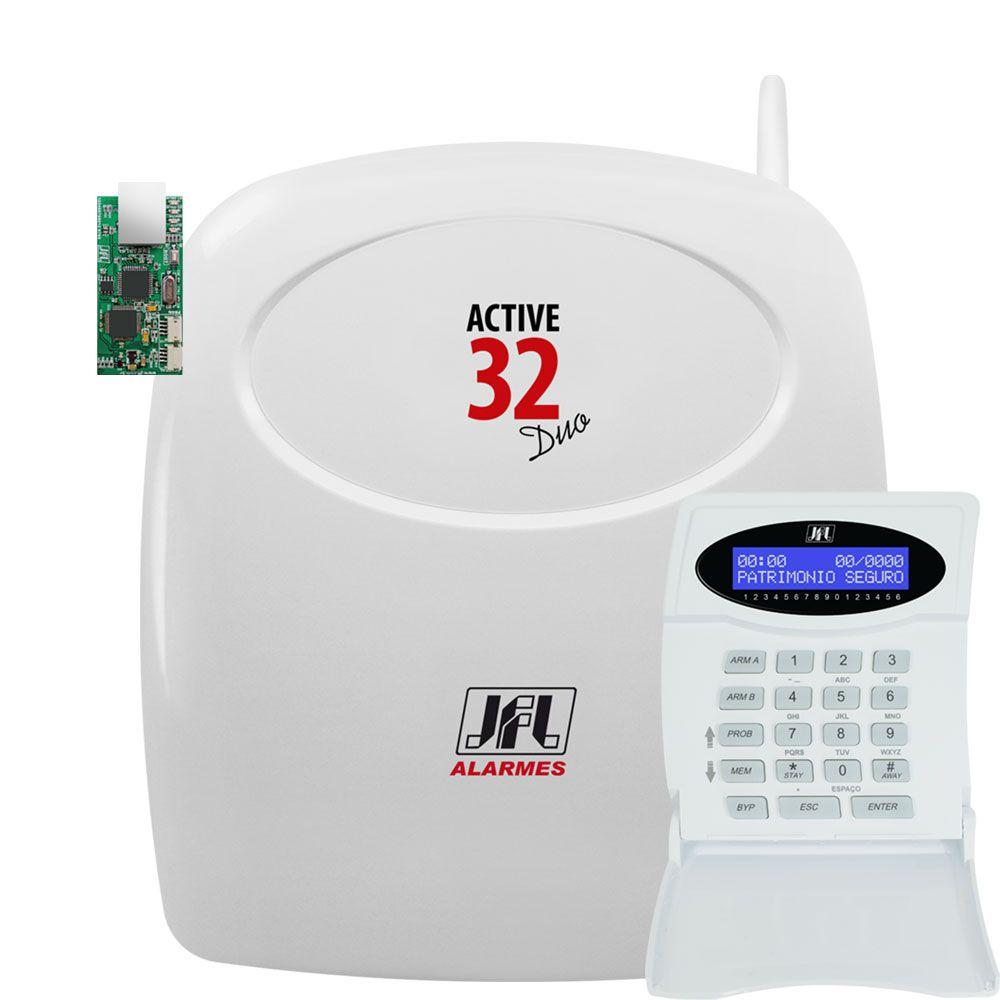 Central De Alarme Monitorado Active 32 Duo Jfl Com Ethernet Me04 E Teclado Tec 300