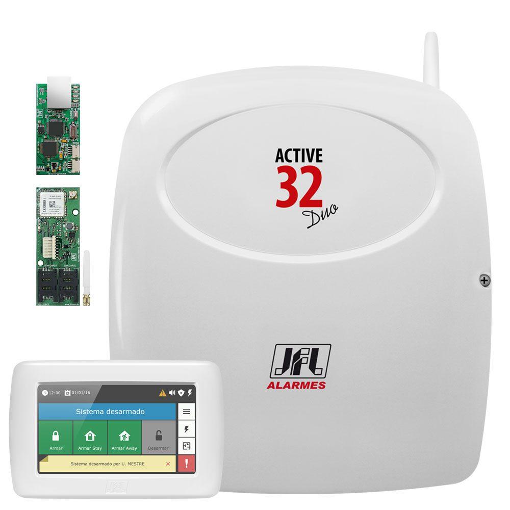 Central De Alarme Monitorado Active 32 Duo Com Teclado Touch Ts 400 E Modulos Jfl
