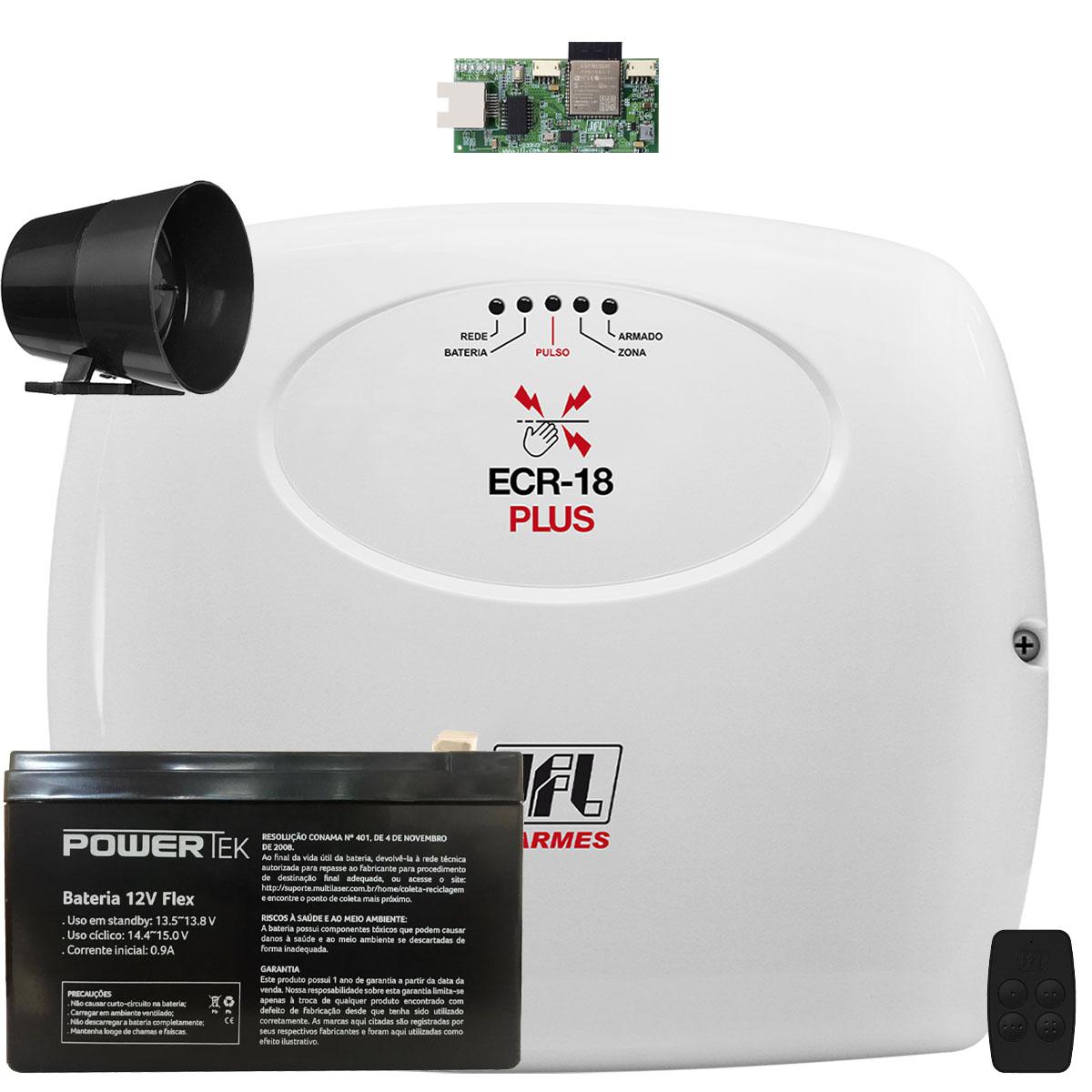 Central de Choque e Alarme Ecr 18 Jfl Com Modulo Ethernet e Bateria