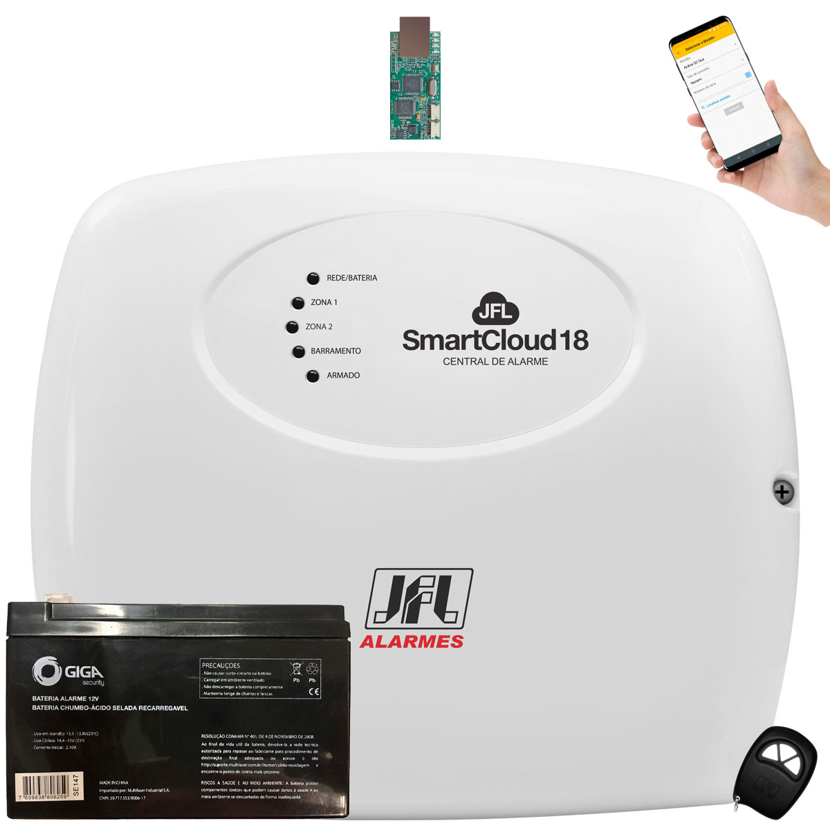 Central Jfl SmartCloud 18 Jfl Com Modulo Ethernet E Bateria