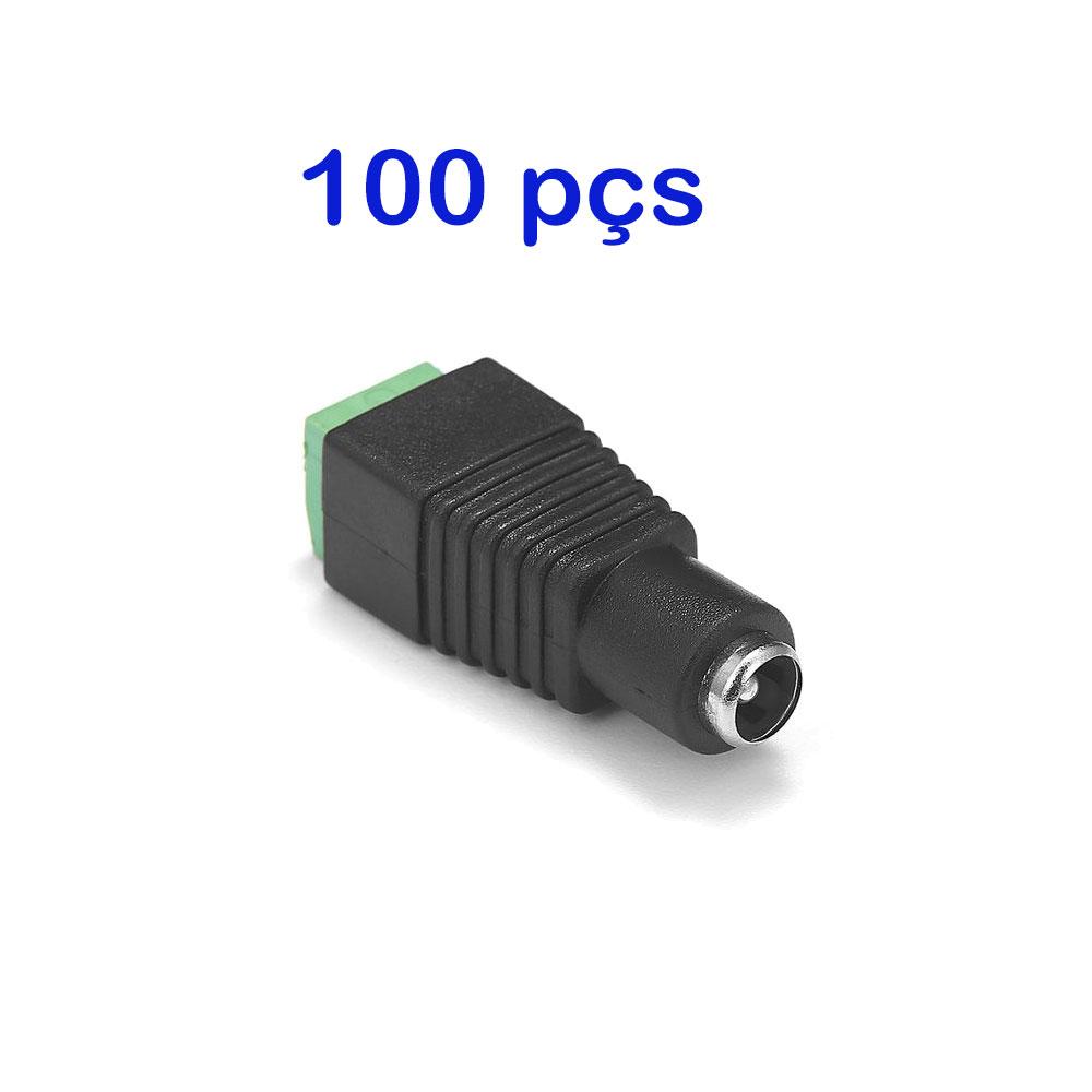 Kit 100 Conector P4 Femea Borne Cftv e Led
