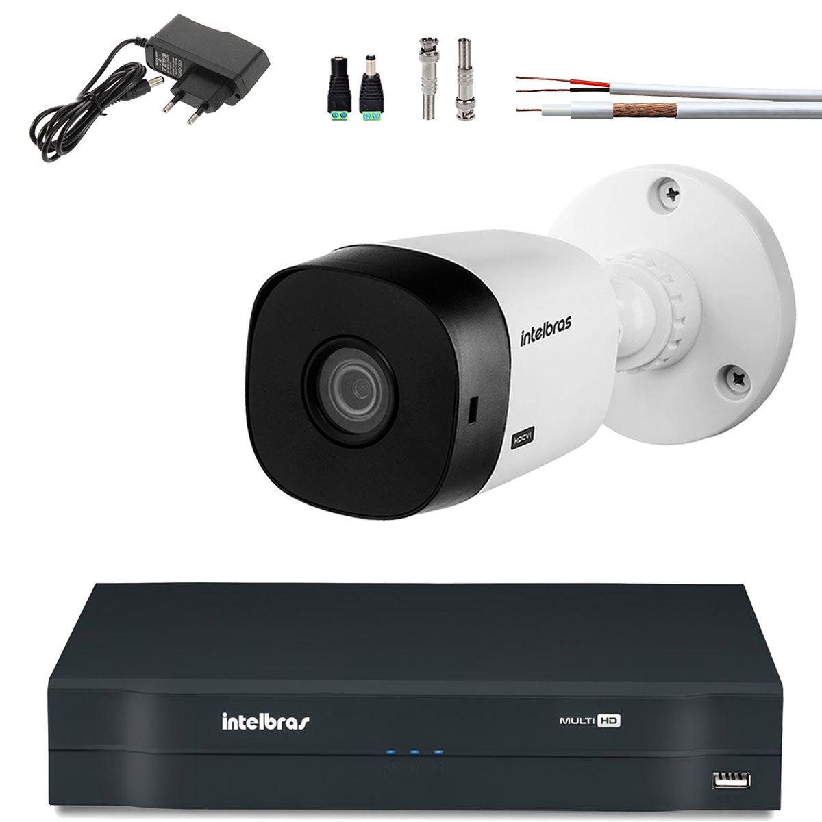 Kit 1 Camera Bullet Intelbras Hd 720p Hdcvi Vhl 1120 B 100Mts Cabo