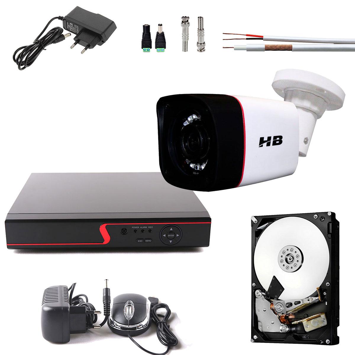 Kit 1 Camera de Segurança HD 720p 1Mp Bullet Dvr 4 Canais