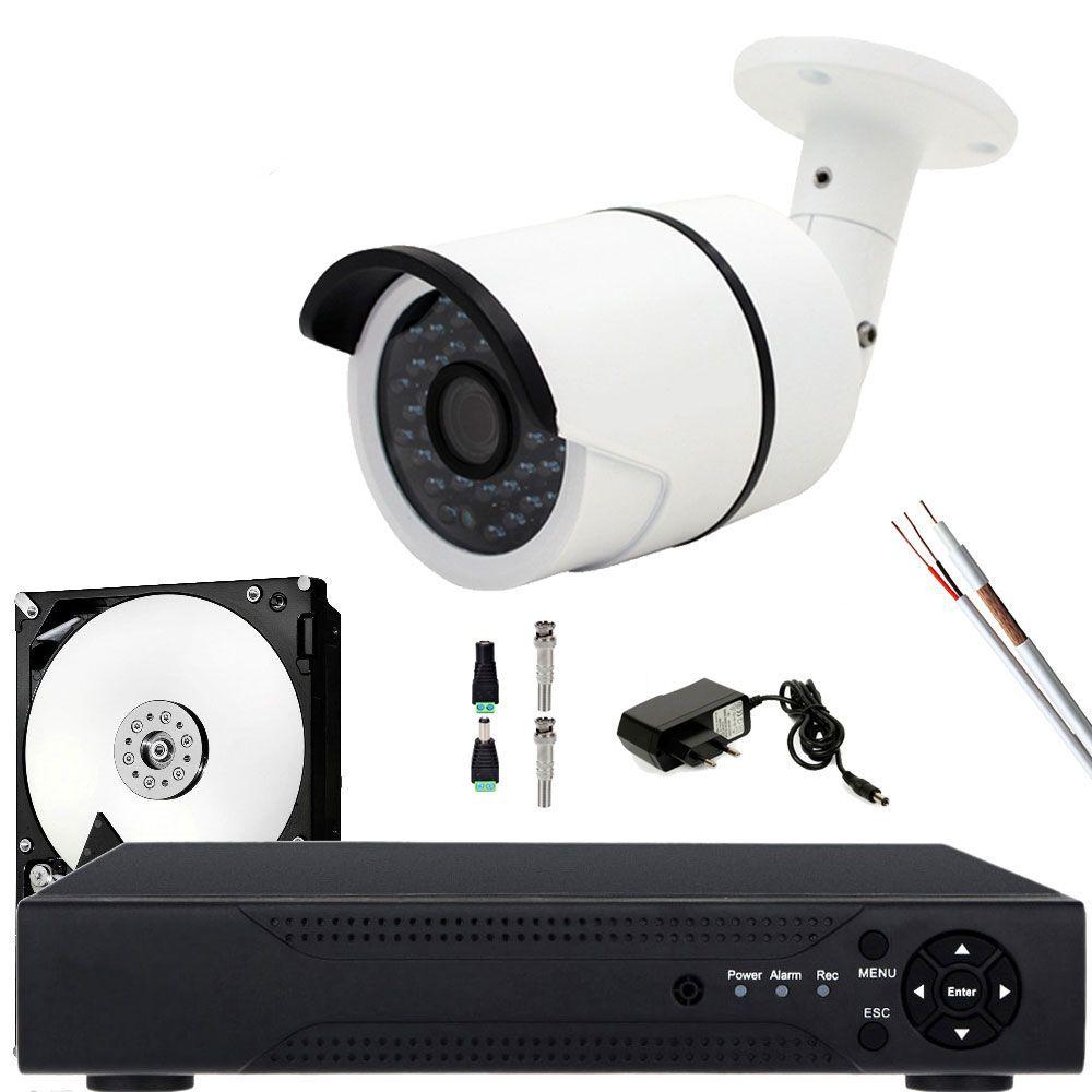 Kit 1 Camera De Vigilancia Noturna hd 1.3mp Bullet Completo