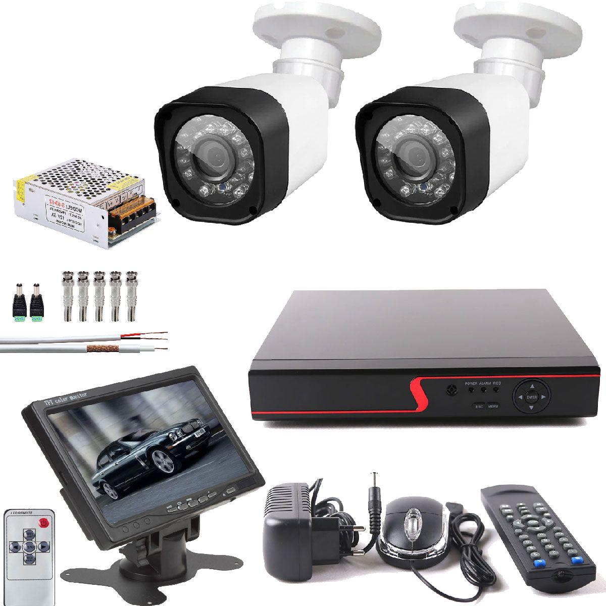 """Kit  2 Cameras De Segurança Com Hd e Monitor De 7"""" Dvr 4 Canais"""