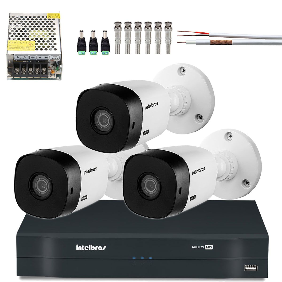 Kit 3 Cameras Bullet Intelbras Hd 720p Hdcvi Vhl 1120 B
