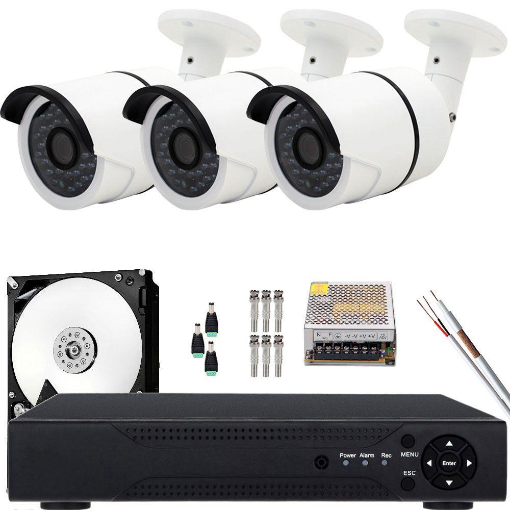 Kit 3 Cameras De Segurança Ahd 1.3mp 35mts Acesso Celular Nuvem