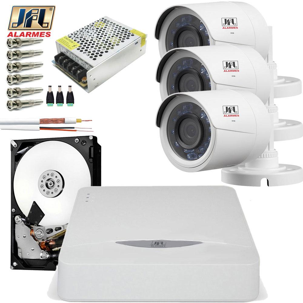 Kit 3 Câmeras De Segurança Jfl Hd 720p 30mts Chd 1230p Completo