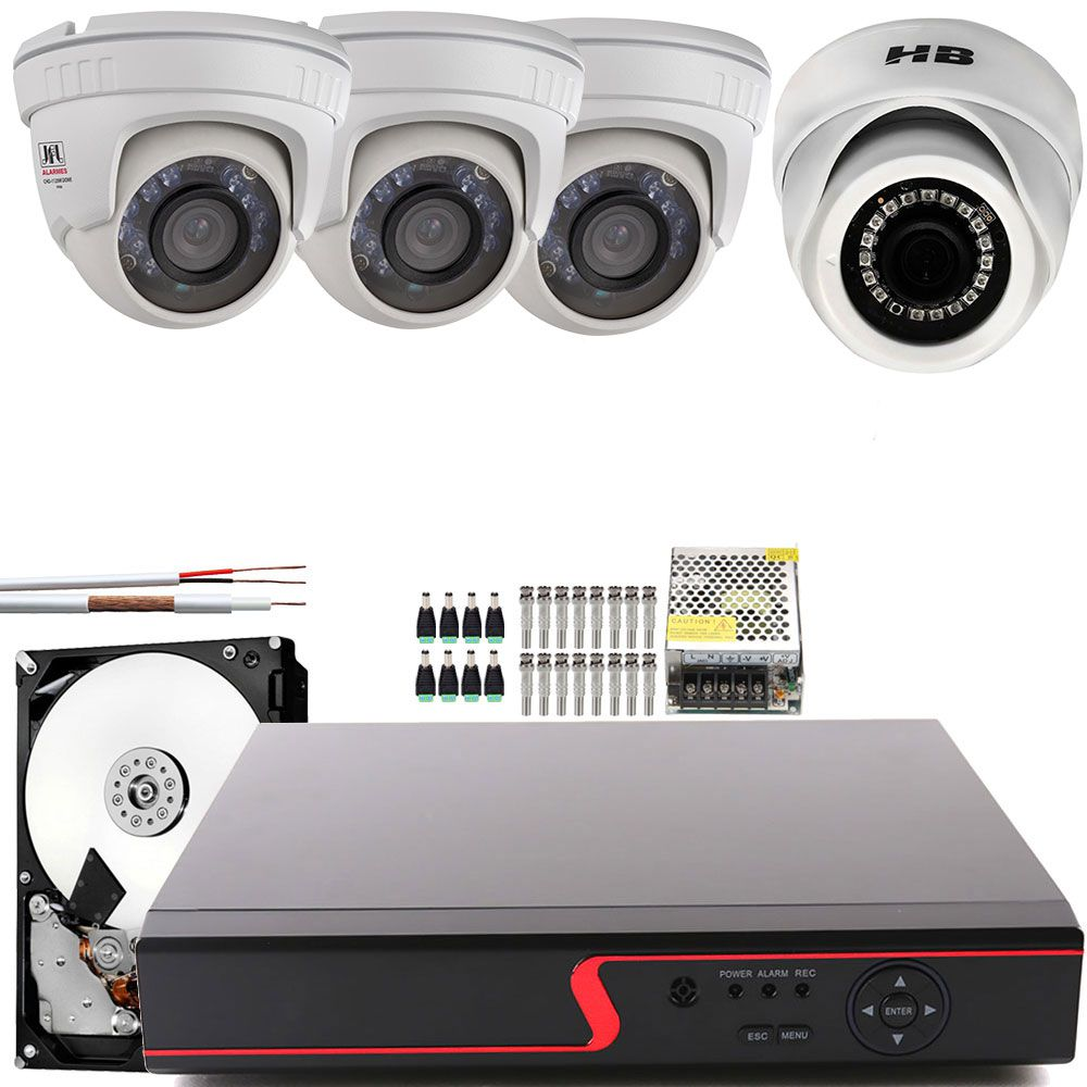 Kit 3 Cameras Domes Externa e 1 Interna HD Com Monitor