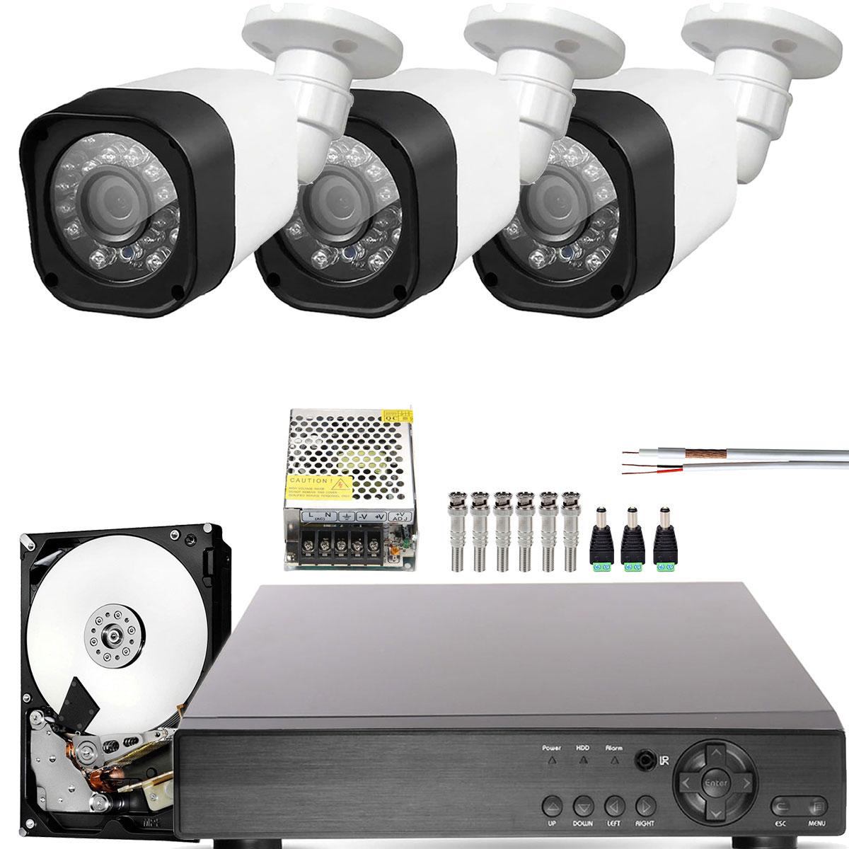 Kit 3 Cameras Infra 20Mts Full Hd 2mp 1080p Com Dvr 4ch Externa