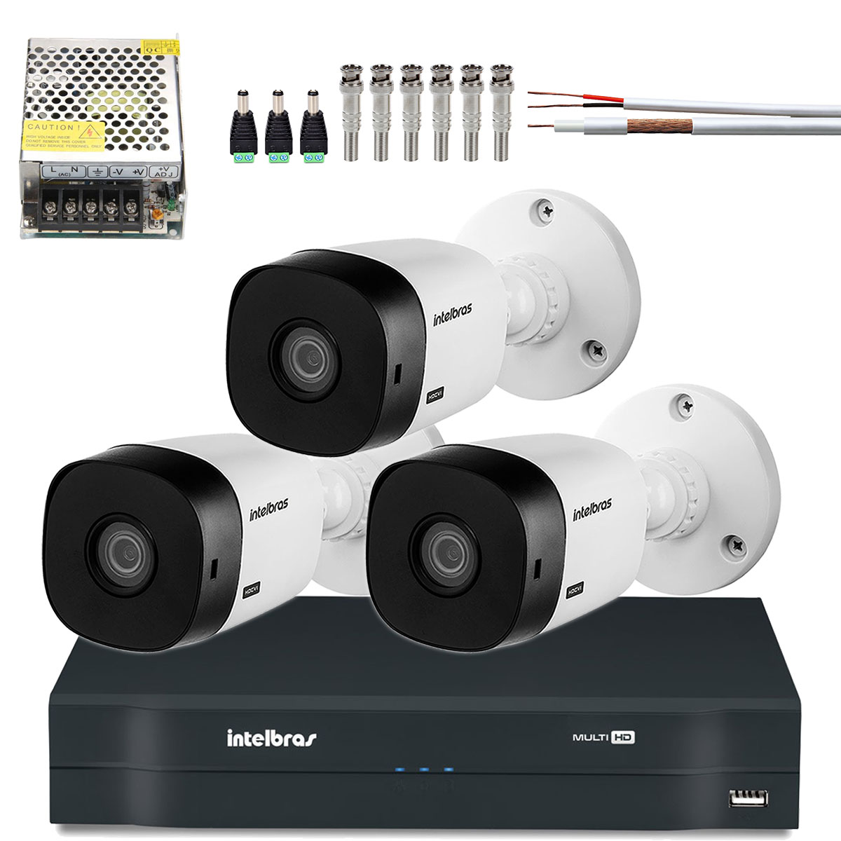Kit 3 Cameras Intelbras Multi Hd 720p Vhd 1010b Lente 3.6mm