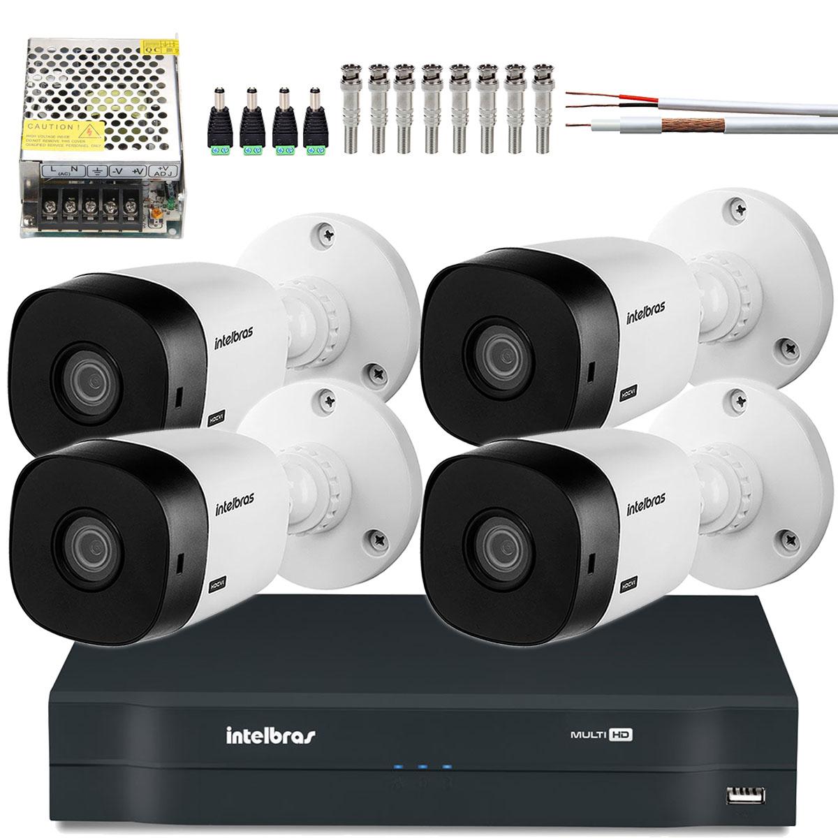 Kit 4 Cameras Intelbras Hd 720p Vhd 1010b 3.6mm Completo