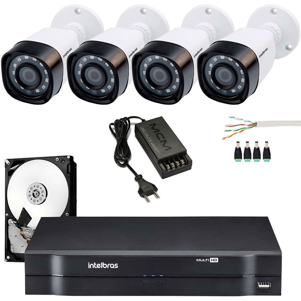 Kit 4 Cameras Intelbras Hd 720p Vhd 1120B Com Cabo Cat5