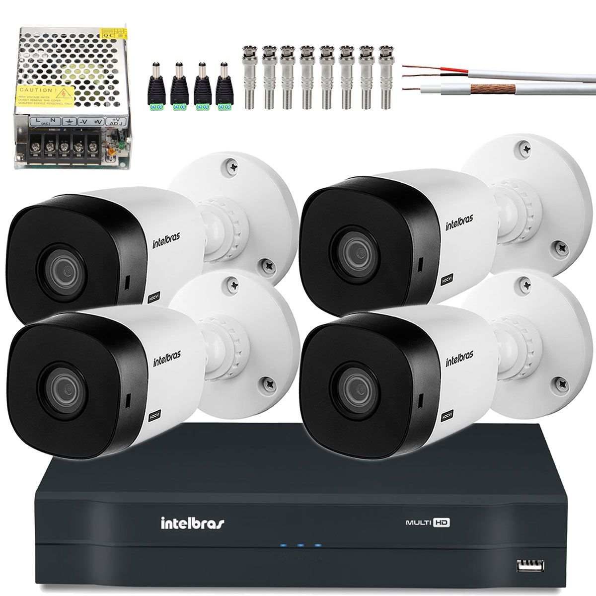 Kit 4 Cameras Intelbras Hdcvi 720p 20Mts Dvr 8 Canais Mhdx 1108